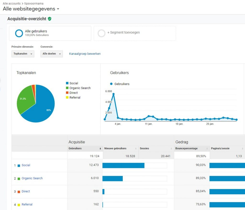 Google analytics januari 2021 website